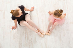 Little girl learn ballet with teacher copy space Royalty Free Stock Photos