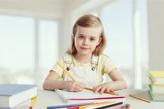 Little girl learn. Attractive back background beautiful book caucasian Royalty Free Stock Images