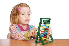 Little girl learn to count Stock Photo