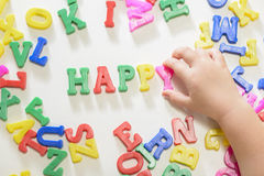 Little girl learning alphabet letters Royalty Free Stock Photos