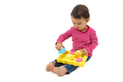 Little girl learning shapes, early education concept Stock Images