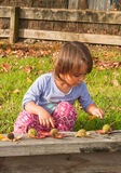 Little girl learning to count Royalty Free Stock Images