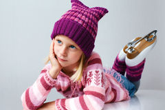 Little girl learning to ice-skate. Royalty Free Stock Images