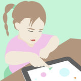 Little girl learning to use a digital tablet illustration. Flat illustration of cute little serious girl sitting at the desk and trying to learn and use some Royalty Free Stock Image