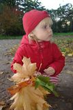 Little girl and leaves stock photos