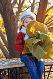 Little girl with leaves Stock Image