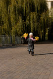 Little girl with leaves in hands runs Stock Image