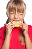 Little girl with lemon Stock Photo