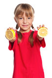 Little girl with lemon Stock Photography