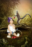 Little girl and lemur stock photography