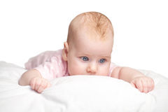 Little girl lies on a pillow Royalty Free Stock Photo