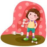 Little girl lifting weight Royalty Free Stock Photography