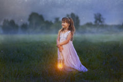 Little girl with lightning Royalty Free Stock Images