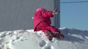 Little girl likes to have fun in winter stock video footage