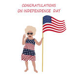 Little girl Lily Congratulations to all of the US Independence day. royalty free illustration