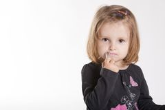 Little girl with lipstick Royalty Free Stock Photo