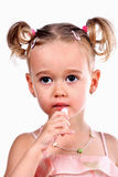 Little girl with lipstick Royalty Free Stock Photography