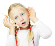 Little girl listening, communication concept royalty free stock photography