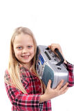 Little girl listening music Royalty Free Stock Photo