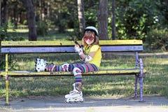 Little girl listening music Royalty Free Stock Images