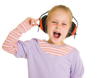 Little girl listening to music Royalty Free Stock Photos