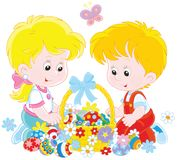 Children with an Easter basket Royalty Free Stock Photography