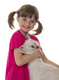 Little girl with little goat Royalty Free Stock Photos