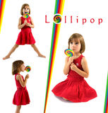 Little girl with lolipop. Collection of photos Royalty Free Stock Photography