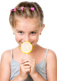 Little girl with lollipop Stock Photos