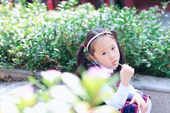 Little girl with lollipop. Sit on the steps inflower stock photos