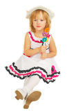 Little girl with lollipops  isolated Royalty Free Stock Image