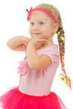 Little girl with a long braid. Nice little girl with a long braid on his head. The girl holds hands about the person. Close-up - Isolated on white background Royalty Free Stock Images