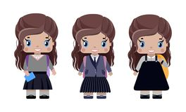Little girl, with long brown hair in different school uniforms. With school backpack, diary, smiling first grader.in cartoon style Royalty Free Stock Photos