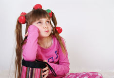 Little girl with long hair Stock Images