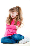 Little girl with long hair in a pink blouse Royalty Free Stock Photography