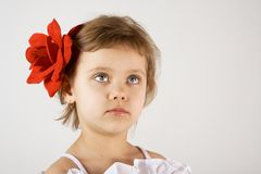 Little girl look up. Little girl with red rouses in the hair, look up Stock Photos