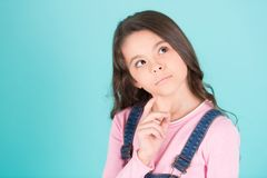Little girl look up, dream eyes face Royalty Free Stock Photography