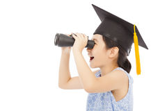 Little girl looking through binoculars. isolated on white Stock Images
