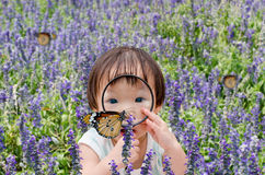 Little girl looking at butterfly with magnifying glass stock photo
