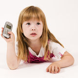 Little girl looking inquiring Stock Photography