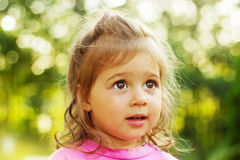 Little girl looking with interest in summer sunset Royalty Free Stock Photos