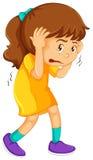 Little girl looking scared. Illustration royalty free illustration