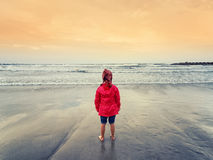 Little girl looking the sea. Little girl in a red coat standing at the seashore Stock Photo