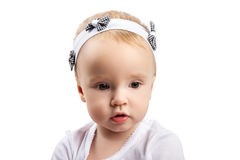 Little girl looking sideways (isolated on white) Royalty Free Stock Photo
