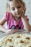 Little Girl Looking to Gullac, Royalty Free Stock Images