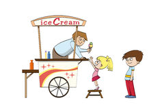 Little girl is looking to an ice cream. Little girl is looking forward to an ice cream Royalty Free Stock Photo