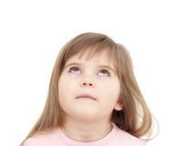 Little girl looking up. On white Royalty Free Stock Images