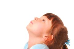 Little girl looking up. (isolated on white background Royalty Free Stock Images