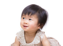 Little girl looking up. Isolated on white Royalty Free Stock Images