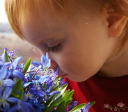 Little girl looks at a bouquet of snowdrops Royalty Free Stock Image